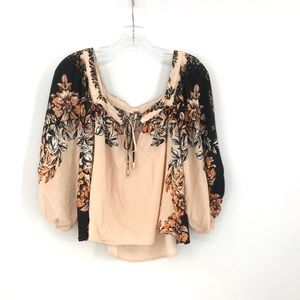 Free People Pheasant Blouse Floral Top Boho Bell